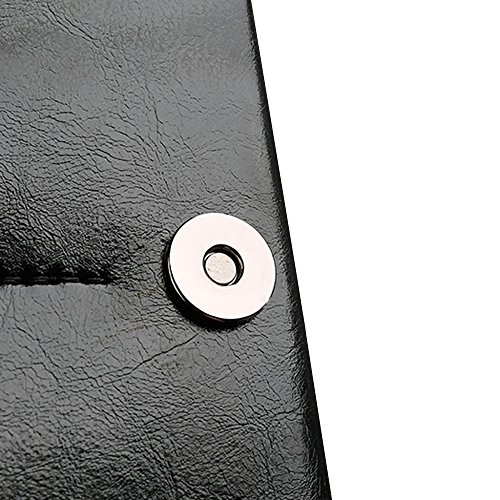 Skitic Long Design Multifunzione Chiusura Magnetica Custodia Borsa Portafoglio, Grande Capacità Handmade Liscio Microfiber Wallet with Card Slots Holder Case Borsetta per iPhone 5 / 5S / 6 / 6S / 6 Pl Nero