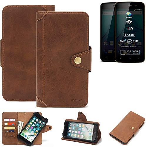 K-S-Trade® Handy Hülle Für Allview P6 Plus Schutzhülle Walletcase Bookstyle Tasche Handyhülle Schutz Case Handytasche Wallet Flipcase Cover PU Braun (1x)
