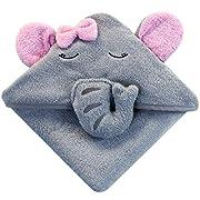Baby Kapuzenhandtuch mit Elefant (Grau/Rosa) - 75x75 cm - Frottee Badetuch Für Neugeborene, Mädchen, Kleinkind Und Kinder - Babyhandtuch Mit Kapuze - Baumwolle
