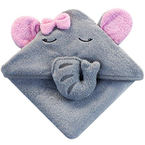 Baby Kapuzenhandtuch mit Elefant (Grau/Rosa) - 75x75 cm - Frottee Badetuch Für Neugeborene, Mädchen, Kleinkind Und Kinder - Babyhandtuch Mit Kapuze - Baumwolle (Mädchen Baby Kapuzen Handtuch)