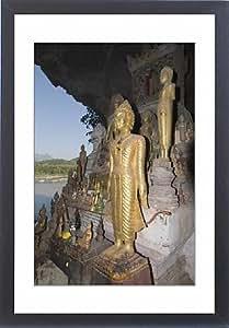 Tableau encadré Motif Bouddha Pak Ou dans des grottes, Mekong River, près de Luang Prabang, Laos, Indochine