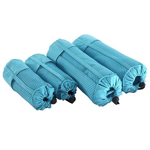 Deconovo Duschtuch 4er Set Handtuch Mikrofaser Sporthandtuch Strandtuch Familien-Packung 180x90 cm und 100x50 cm Himmelblau
