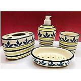 HS HINDUSTANI SAUDAGAR Hand Painted Ceramic Bathroom Accessory Set of 4 Pieces - Soap Dispenser, Beaker, Soap Dish,Brush Holder for Bathroom Décor and Home Gift