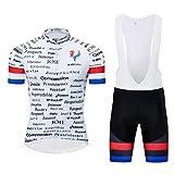 logas Maillot Cuissard Cyclisme Homme Tenue de Vélo Équipé de France Vêtement VTT Manches Courtes