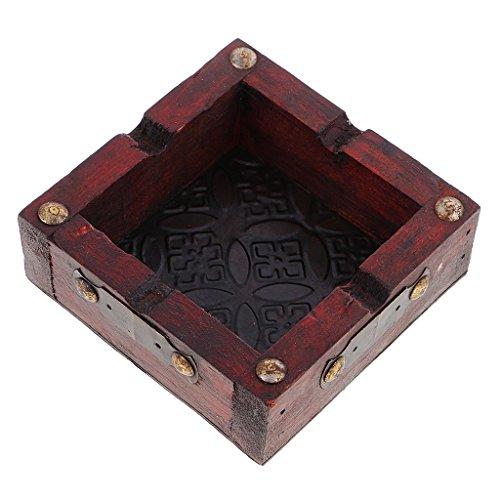 MagiDeal Vintage Holz Aschenbecher Holzaschenbecher 9.2X9.2X3.6cm - #A