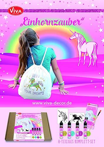 Viva Decor Creative Schablonen-Set Einhornzauber, Synthetisches Material, Mehrfarbig, 26x 21x 3cm