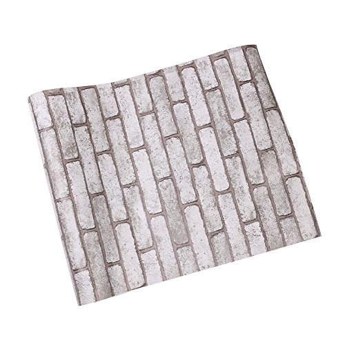 3D Ziegel Tapeten, Selbstklebend einlese strukturiert PVC Brick Wall Paper Peel Steinblöcke für Cafe Bar Schlafzimmer Dekoration Brick Wallpaper 0.45X10m (Grauer Ziegelstein)