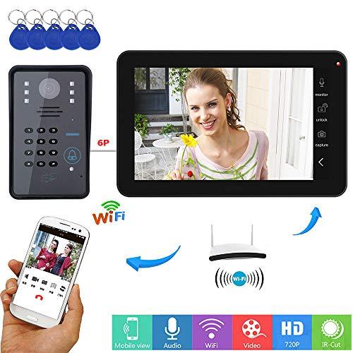 YUEC Video-Türklingel, 9 Zoll drahtgebundenes/drahtloses WiFi RFID-Passwort Video-Türklingel-Türsprechanlage mit IR-Cut-Kabelkamera Nachtsicht, Remote-App-Entriegelung