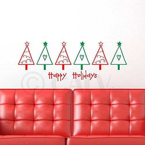 Multi Color Christmas Tree (Multicolor Christmas Trees-Happy Holidays vinyl wall decal by Wall Saying Vinyl Lettering)