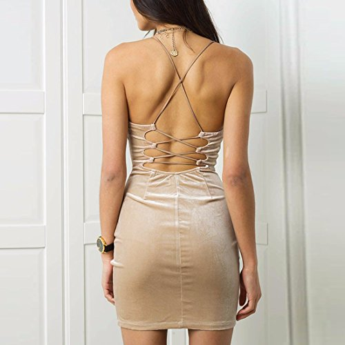 QIYUN.Z Femmes V Cou Spaghetti Sangle Bodycon Robe De Nuit Wiggle Bandage Robes Robe Abricot