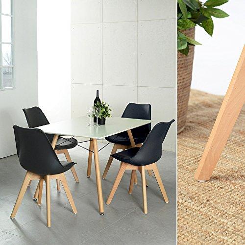 Naturelifestore Pack de 4 sillas de Comedor/Oficina con Madera de Haya Piernas para Comedor/Sala de...