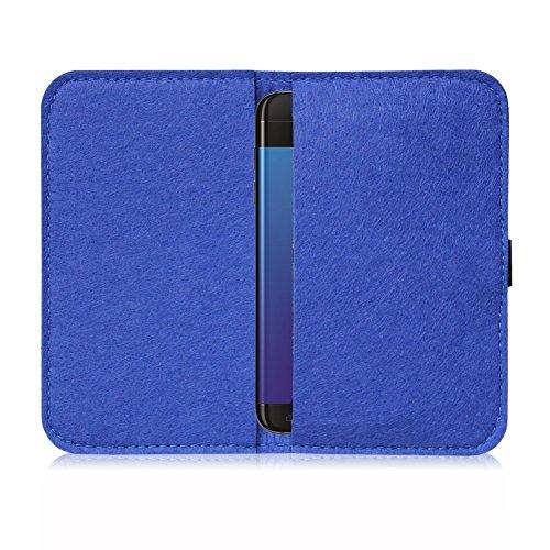 Feutre pour Smartphone Cover Étui Étui de protection à rabat en feutre avec compartiment de Carte En Différentes Couleurs avec bande de caoutchouc straffen compatible avec Apple iPhone 6S/iPhone 6de  bleu