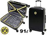MarkenMerch Reisekoffer Borussia Dortmund Koffer, 77 cm, 91 L, Schwarz Matt Mit Logo