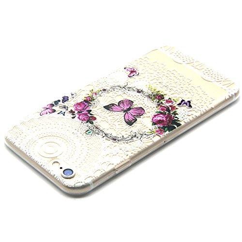 iphone 6 Plus Coque / 6S Plus (5.5 inch Housse, MYTHOLLOGY Dessin animé Loup 3D Flexible Slim Silicone TPU Transparente Anti-Rayure extrêmement Mince Arrière Housse Etui Papillon