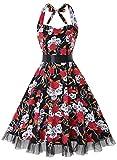 OTEN Vintage Kleider, Frauen mit Blumenmuster, 1950er-Jahre, Rockabilly Neckholder-Kleid Gr. Small, Skull Rose
