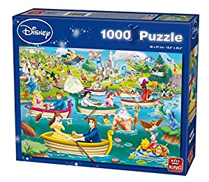 King Disney Fun on the Water 1000 pcs 1000pieza(s) - Rompecabezas (Jigsaw puzzle, Dibujos, Niños, Disney, Multiproperty, Princesses, Mickey Mouse, Winnie the Pooh, Peter Pan, Aristocats, 101 Dalmatiers, Niño/niña)