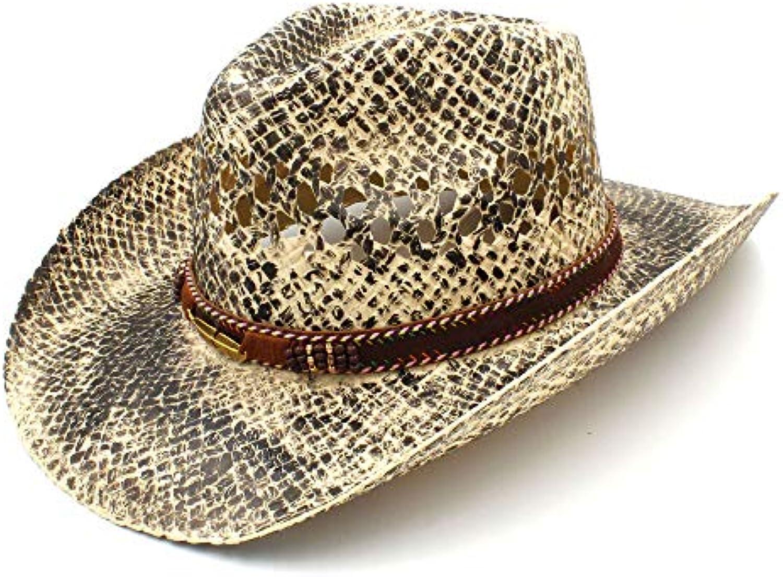 Fashion Exquisite charm Donna Uomo Paglia Paglia Uomo Cappello Western  Cowboy Fatto a mano Tessuto Spiaggia aef772a26b2a