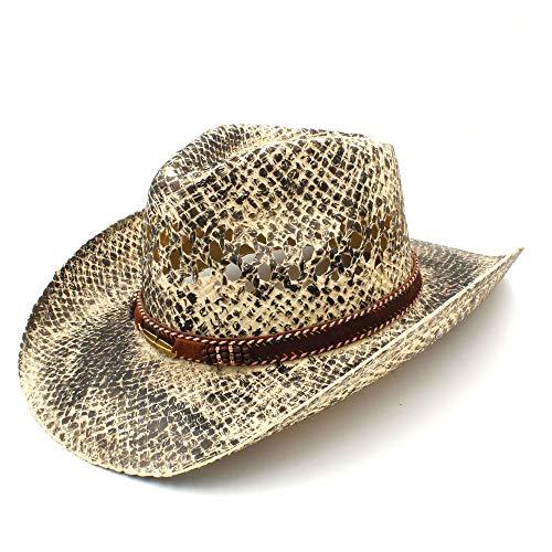 arme Frauen Männer Stroh Western Cowboy Hut Handgemachte Weave Strand Sombrero Hombre Cowgirl Jazz Caps Wortspiel Creative (Farbe : Natürlich, Größe : 58 cm) ()