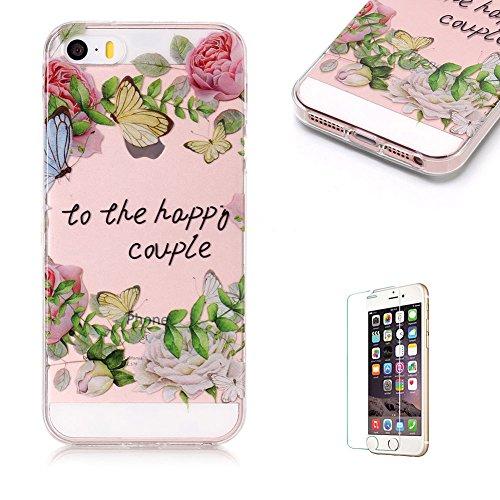 Cover Per iPhone 5 5S SE 4 La cover è carinissima?Funyye Silicone Custodia Morbida Trasparente con Disegno Cristallo Chiaro Sottile Leggero Flessibile Antiurto Antiscivolo Morbida TPU+IMD + Pellicole Rosa