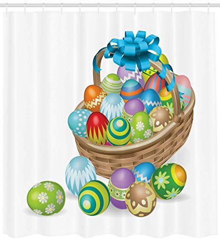 vorhang, Basket of Colorful Ornamental Eggs with a Blue Ribbon Spring Season Easter Holiday, Cloth Fabric Bathroom Decor Set with Hooks, 60 x 72Inch Long, Multicolor ()