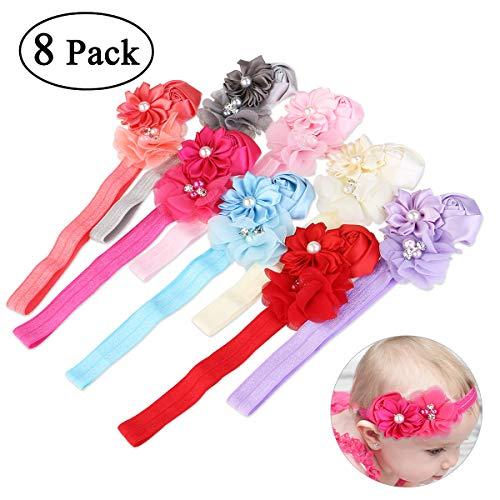 NUOLUX 8ST Cute Baby Girls Sweet Rose Blumen Perle elastisch Haarband Haar Band Zubehör Foto Props -