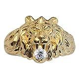 So Chic Joyas - Anillo Sello Hombre León Modelo Grande Circonita Blanca Vermeil (Oro 750 sobre...