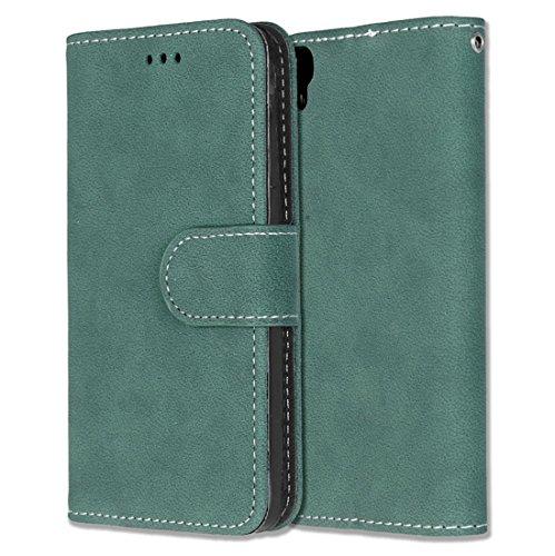 Alcatel One Touch Idol 3 (4.7) Hülle, Chreey Matt Leder Tasche Retro Handyhülle Magnet Flip Case mit Kartenfach Geldbörse Schutzhülle Etui [Grün]