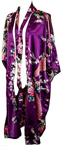CCCollections kimono night dress 16 colours dressing gown robe lingerie night wear dress bridesmaid hen night (Viola scuro (Dark Purple))