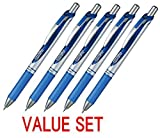 Pentel EnerGel Deluxe RTX Retractable Liquid Gel Pen,0.7mm, Fine Line, Metal Tip, Blue Ink-Value set of 5 (With Our Shop Original Product Description) by Pentel
