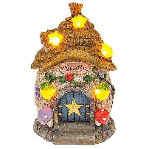 Solar Powered beleuchtet Fairy Star Cottage/Dwelling Garten Ornament
