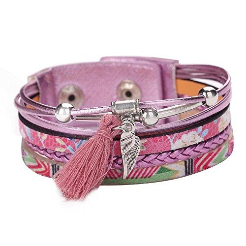 Gowind6coreano multistrato ciondolo a forma di foglia in pelle pu nappa braccialetto intrecciato, colore: purple, cod. 196318.04