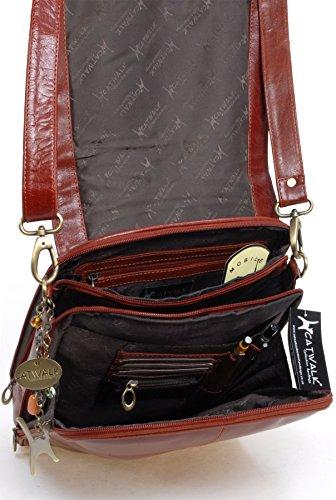 Borsa A4 Messenger di Catwalk Collection in pelle - City Marrone chiaro