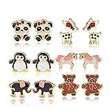 FSMILING 6er Set Ohrstecker mit Emaille Tiere Stil Ohrringe Set Stecker Nickelfrei für Kinder Mädchen