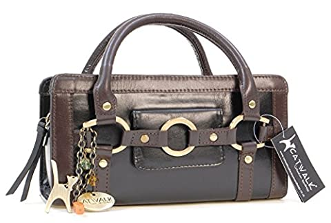 Catwalk Collection Leather Grab Bag - Milan - Black and Brown