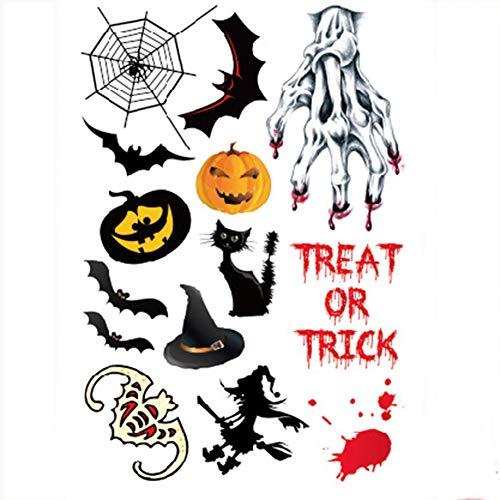 LTLGHY Halloween Tattoo Sticker 1 Stück Halloween Tattoo Sticker Inklusive Fledermaus, Katze, Kürbis, Teufel, Elfe, Engel, Hexe, Spinnennetz, Schädelkopf Usw.