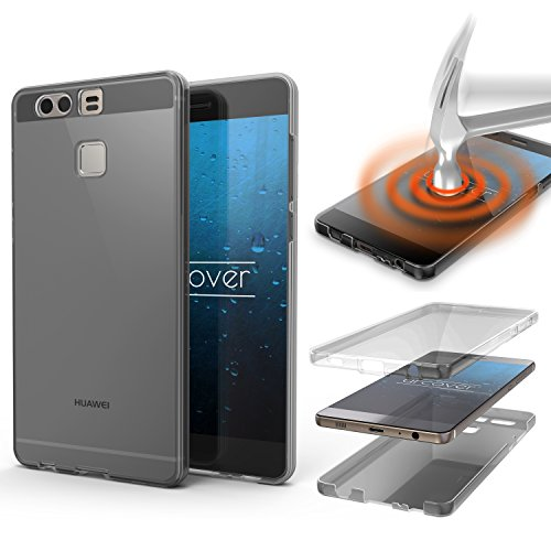 Urcover Huawei P9 Hülle   360 Grad TPU Schutz-Hülle in Grau   Handy-Cover Rundum Ultra Slim Case Dünn Schale   Smartphone Zuberhör Tasche