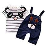 Baby Boy Girl Straps Set Baby Boy Little Bear Stripe Short-Sleeve Set (Age:3-4Y, Navy)