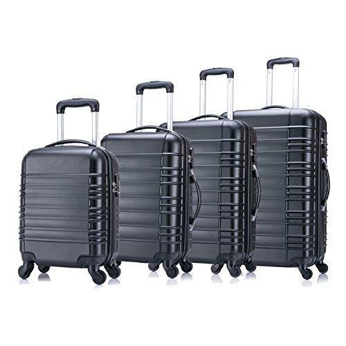 4 teiliges Koffer Set von Jalano Reisekofferset ineinander stapelbar Gepäck-Set Koffer Trolley Hartschale, Farbe: schwarz