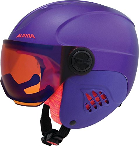 Alpina Mädchen Carat Le Visor HM Skihelm, Royal/Purple Matt, 54-58 cm