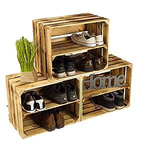 3 x Schuhschrank Schuhregal aus geflammten Holzkisten Schuhablage für 12 Paar Schuhe als Schuhständer Schuhaufbewahrung…