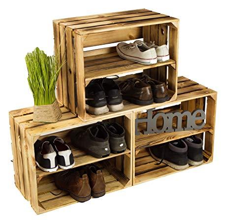 3 x Schuhschrank Schuhregal aus geflammten Kisten mit 3 Ablagen Schuhablage für 12 Paar Schuhe als Schuhständer Schuhaufbewahrung aus Holz Maße 50x40x30cm (kiste) stabiles Regal ingeflammter Optik