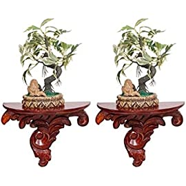 Onlineshoppee Carved Wooden Wall Bracket Shelf  Red
