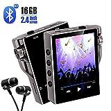 Gueray 16GB Reproductor de MP3 Bluetooth de Alta Resolución Reproductor de música 30 horas de reproducción con Video E-Book Grabación Digital Función de Radio FM Soporte para Tarjeta TF de hasta 128GB