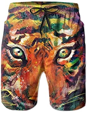 Colorful Tiger Head Pattern Men's/Boys Casual Shorts Swim Trunks Swimwear Elastic Waist Beach Pants with Pockets