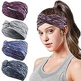 HHOOMY 4 Stück Frauen Sport Stirnband Anti Rutsch elastische Wicking Sport Stirnband kommt mit Cross Design Frauen Schwei�band absorbierende Feuchtigkeit für Yoga, Reiten, Basketball