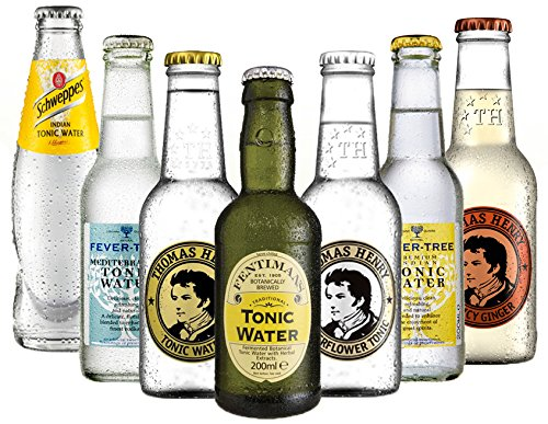 Produktbild bei Amazon - Tonic Set Schweppes, Fever Tree Mediterranean und Premium Indian, Fentimans, Thomas Henry Tonic und Elderflower (6 x 0.2 l) mit Thomas Henry Spicy (1 x 0.2 l)
