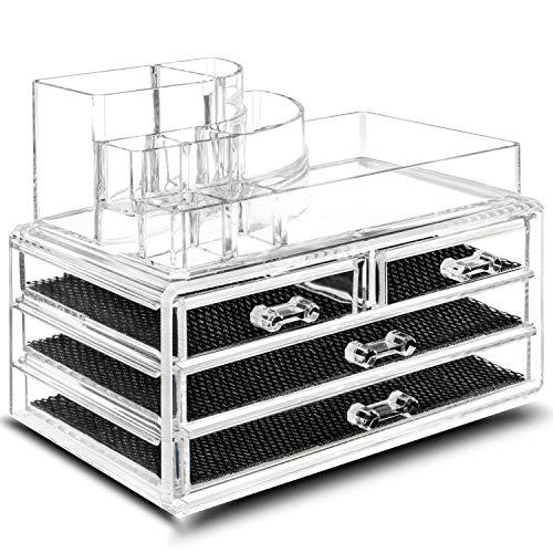 TRESKO® Boîte en Acrylique Transparent pour Ranger Votre Maquillage Organisateur (4 tiroirs (24 x 13,5 x 18,5 cm))