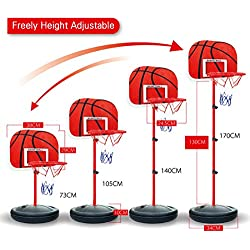 Mecotech Canasta Baloncesto Infantil 73-170cm Ajustable Portátil Canasta Baloncesto Niños Interior y Exterior con Inflador