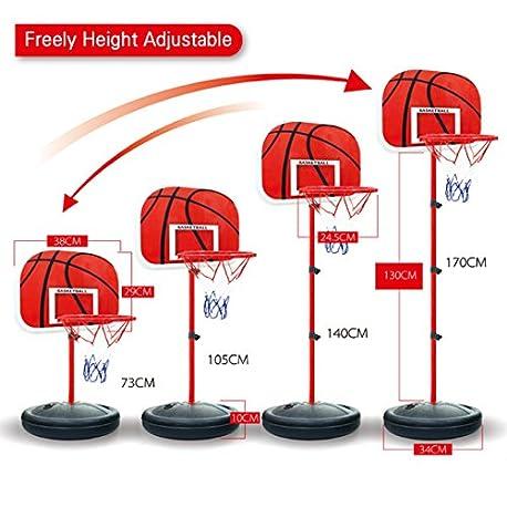 Riva776Yale 73 170CM Canasta Aro de Baloncesto Ajustable Soportes de Baloncesto Altura Ajustable para ni os Baloncesto Goal Hoo