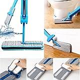 Yogogo Doppelseitige Non Hand Waschen Flat Mop Holzboden Mop Staub Push Mop Home Reinigung Tools (Blau)